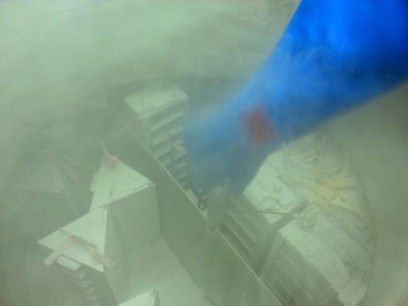 This liquid nitrogen freezer is used to store organic material that would degrade at higher temperatures.