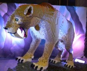 An Ice Age animal, a sabre-toothed cat, made from LEGO bricks. (C) Julian Wright (HCCAMS)