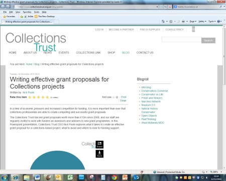 Screenshot of Nick Poole's web article on obtaining funding