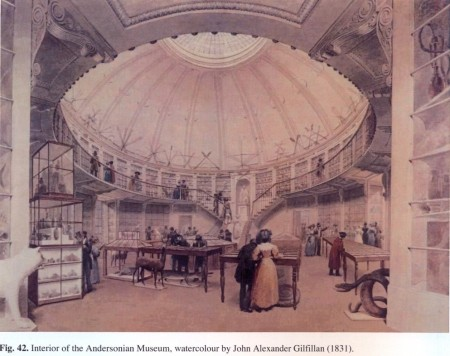 Painting of the interior of The Andersonian Museum, which was curated by Scouler (by John Alexander Gilfillan, 1831)