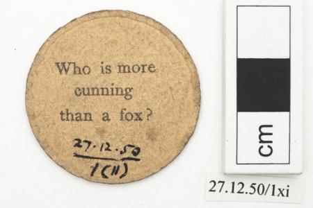 Reverse of animal playing card (Horniman Museum & Gardens)