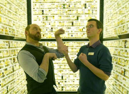 Fisticuffs are threatened between Paolo Viscardi and Jack Ashby, in the Grant Museum of Zoology's Micrarium.