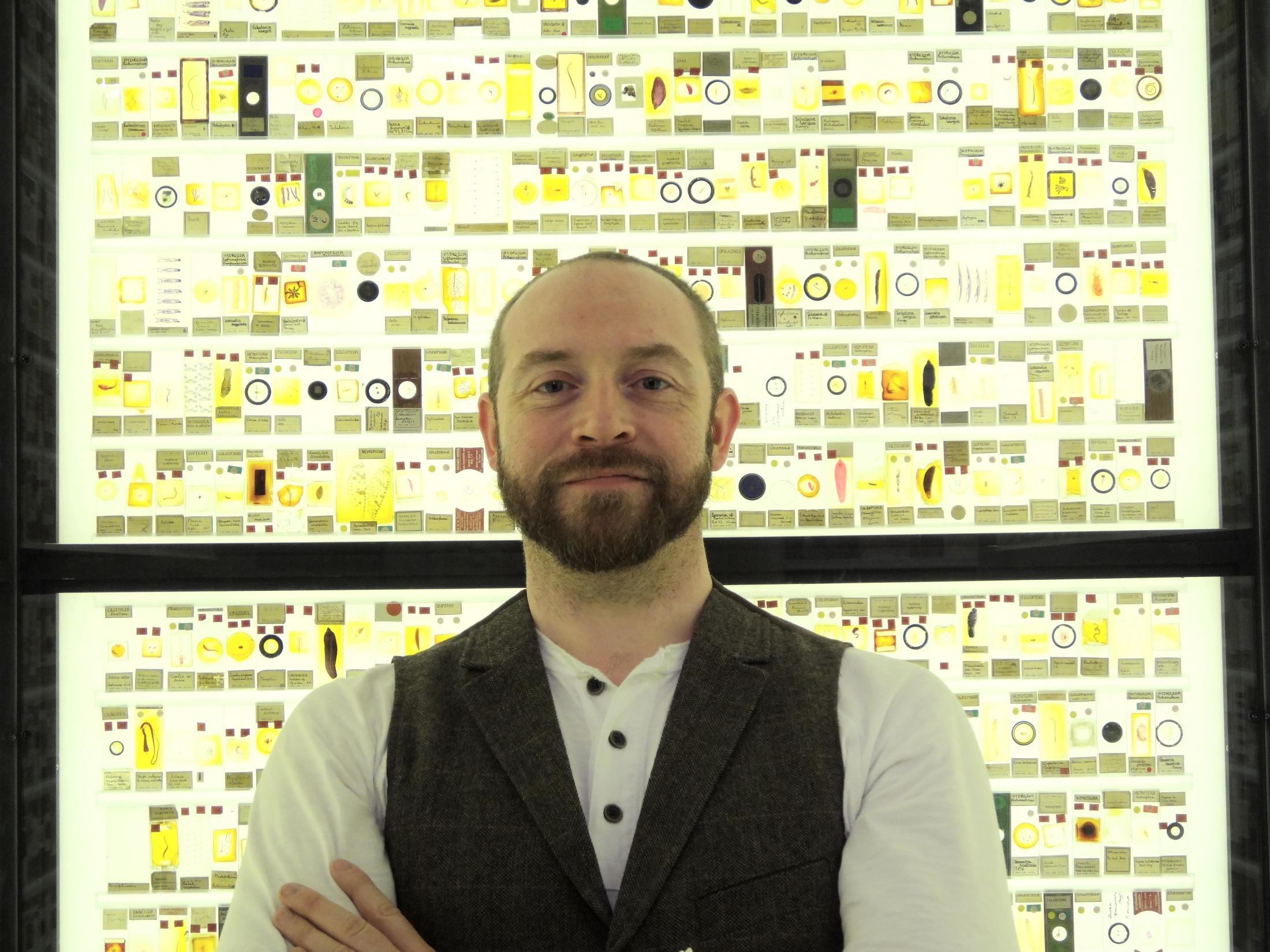 Paolo Viscardi, in the Grant Museum's amazing Micrarium