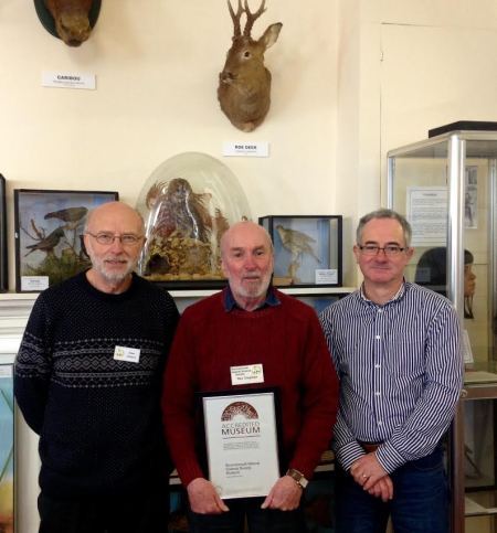 Steve Limburn, Ray Chapman, and Maklcolm Hadley with the BNSS Accreditation certificate