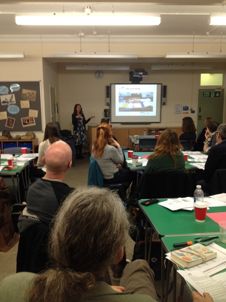 Deb Hutchinson delivering a lecture on documentation at Bristol Museum (© Bristol Culture BMAG)