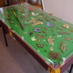 An arthropod-covered snooker table