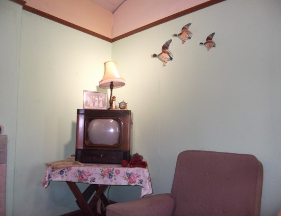 Porcelain flying ducks in a 1950s living room display at the Museum of East Anglian Life