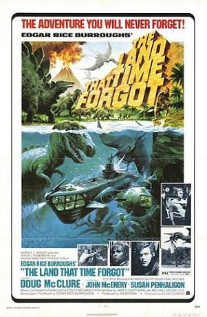 The postrer for The Land That Time Forgot. It certainly was an adventure I never forgot! (Poster of teh film by Tom Chantrell. Public Domain)