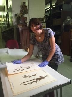 Victoria Purewal viewing Broughton plant specimens